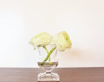 Small vintage clear glass bud vase