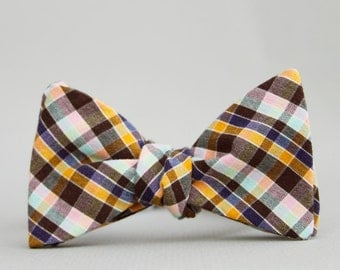 chocolate & cotton candy bow tie // self tie bow tie // plaid bow tie
