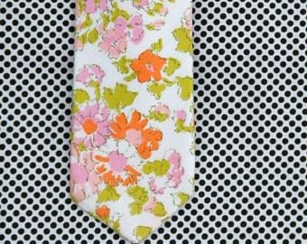 watercolor floral skinny necktie // wedding necktie