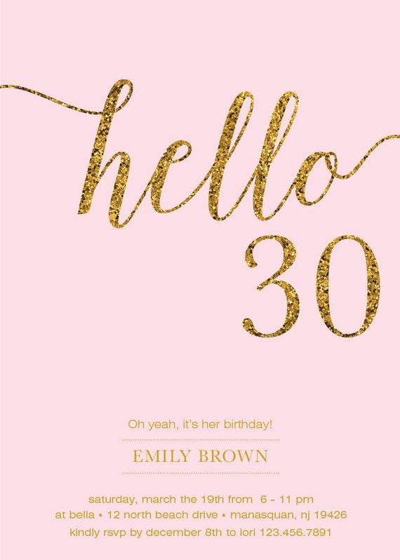 30th Birthday Invitation Modern Faux Gold Foil Hello 30 – Free 30th Birthday Cards