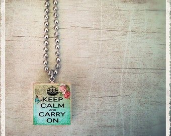 Scrabble Art Pendant - Keep Calm Carry On Blue Rose - Scrabble Game Tile Jewelry - Customize
