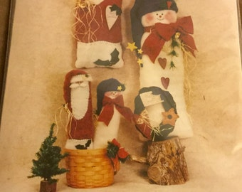 Felt Snowmen and Santa Pattern 26 and 13 inches Tall, Uncut Vintage Christmas Decoration