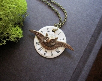 Owl Necklace, Steampunk Necklace, Woodland Animal, OOAK, Steampunk Owl, Watch Face, Forest Animal, Vintage Inspired, Owl Head, Antique Brass