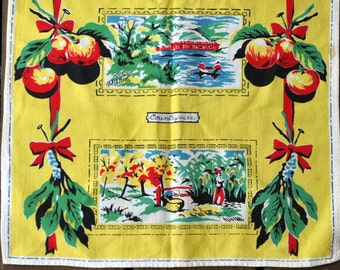 Vintage Tea Towel - Antique Cotton - Apples Yellow Red Green - Countryside