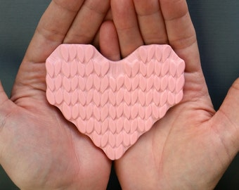 LIMITED Knitted Heart- Hand Carved Rubber Stamp