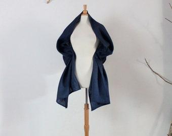 midnight blue linen wrap shawl ready to wear