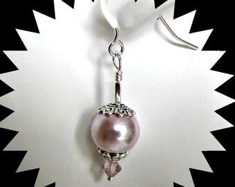Lilac Pearl Earrings, Dangle Pearl Earrings, Lilac Faux Pearl Earrings, Sterling Earwires, Wedding Jewelry, Casual Jewelry,  Item 1183
