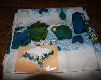 1960s Tableclth Kitched Themed Blue Green Kitchen Ware Linen Cloth  Unused
