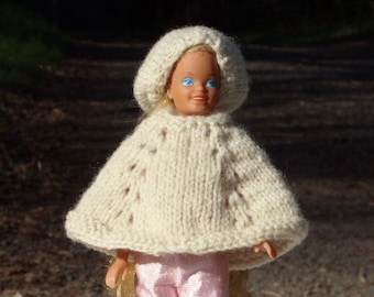 Skipper Doll Poncho and Matching Beanie Slouch Hat - Knitted -  Off White - Pattern same as my Girls Ponchos as my Girl's Poncho