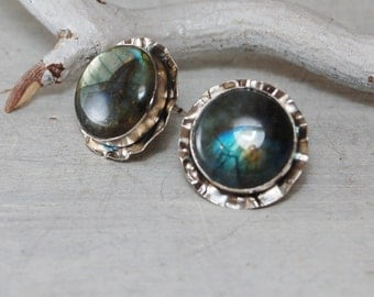 Hunky Labradorite stud Earrings Sterling Silver Posts Earrings