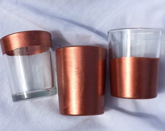 12 COPPER Metallic Metal Votive Candle Tea Light Holders Wedding Party Favors Table Decoration Centerpiece Decor Reception Tealight