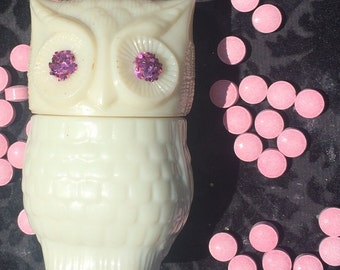 Glitter Eye Owl for Nug Pot Stash Jar DRUGS Pills