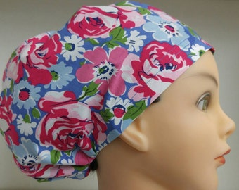 Womens Hybrid Style Surgical Scrub Hat Cap Floral Fields Pink Blue