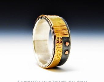 Balance Series - Concerto.  Textured 14K Gold and Sterling Silver