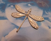 Gold Plated Brass Ornately Detailed Dragonfly Pendant With a Frosted White Patina 322WHT x1