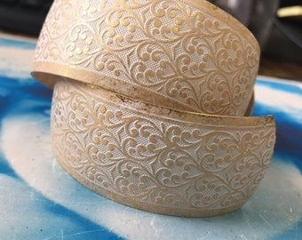 Gold Plated Frosted White Patina Brass Floral Embossed Bangle Cuff 2232WHT x1