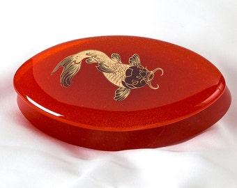 Fused Glass Trinket Box - BluDragonfly SRA - Koi Fish