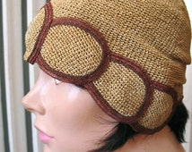 Flaxen Lady | Vintage 1920s Cloche Tan Straw Flax Raffia Flapper Hat with Brown Edged Overlapping Oval Design