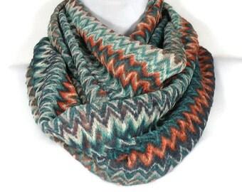 Lightweight Knit Infinity Scarves Southwestern Lightweight  Infinity Scarves Aqua Orange White Grey Knit Infinity Scarf Lacey Knit Scarves