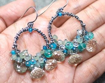 Green Amethyst Earrings, Neon Blue Apatite, Apatite, Chalcedony, Clear Quartz gemstone hoop, oxidised 925 Silver hooks ... AQUA Earrings