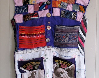 PURPLE RAIN PATCHWORK - Collage Clothing  Wearable Fabric Collage Folk Art  - Upcycled VIntage Linens - myBonny random scraps