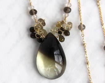 Citrine Necklace - RARE Bicolor Citrine with Phantom Effect in Gold