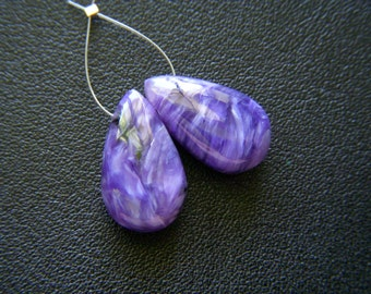 RESERVED - Top Grade Charoite Polished Drops - Pair - 9x15.5mm