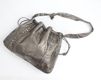 Vintage Metallic Leather Purse | 80s Boho Drawstring Bag | Large Cinch Top Shoulder Bag