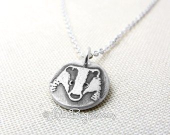 Tiny badger necklace, silver badger charm, badger jewerly