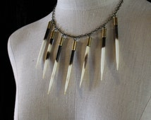 African Porcupine Quill Spike Collar Necklace