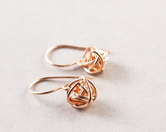 Rose Gold Knot Earrings, Knot Jewelry, Rose Gold Earrings, Tie The Knot
