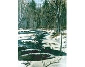 INSTANT DOWNLOAD 4 x 6.6 PRINT Snowy Brook