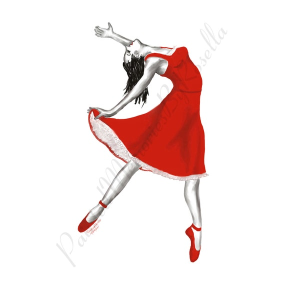 Instant Download BALLERINA In RED DRESS 4.6 X 6 Print Teal, Lime and Raspberry available