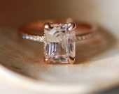 Blake Lively ring White Sapphire Engagement Ring emerald cut 18k rose gold diamond ring 3.02ct White sapphire ring