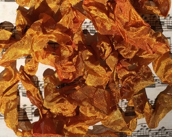 Hand dyed crinkle ribbon Vintage Wild Honey seam binding crinkly stained ribbon TeamHaha Hafair OFG ADO Nooga Norga Mha Ellijay