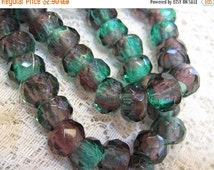 ON SALE 6 Emerald Amethyst Czech Pressed Glass Large Hole Faceted Roller Beads 8mm x 12mm