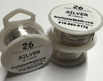26 gauge Silver Non Tarnish Copper Craft Wire 15 yards Made in USA