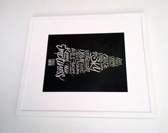 8x10 Kahlil Gibran Quote Hand Lettering Fine Art Color Photo Print