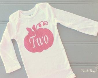 Birthday Bodysuit, Hot Pink Glitter Pumpkin Cake Smash Shirt, First Birthday Pumpkin Shirt, Second Birthday, Third Birthday
