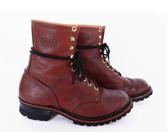vintage LOGGER boots // lumberjack boots // rugged leather work boots // northwest camp boots // men's size 7 1/2  D // 7.5 D // women's 9 W