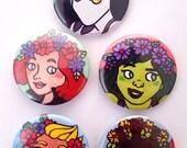 Super Ladies in Flower Crowns Pin Set (1 of 2)