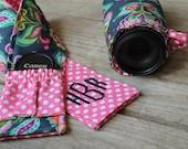 Camera lens pod drawstring case and camera strap cover with lens pocket