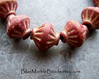 Tribal Bead-Boho Chic-Boho Bead-Lantern-Etched Bead-Carved Bead-Vintage Lucite-Matte Bead-Distressed-Red-Gold-Big Hole Beads-Lucite Beads-12