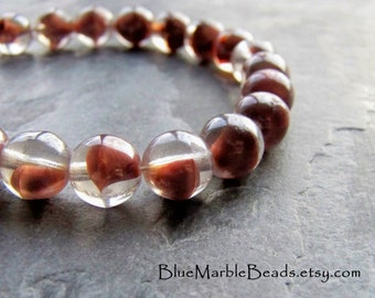 Round Glass Bead-Givre Beads-Rare Glass-Rust-Clear-West German-Vintage Glass Beads-Luster-9mm-30 Beads