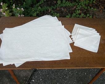 Set 4 Vintage Linen Placemats 4 Linen Napkins White Damask Placemats Wedding Decorations Table Decor French Country Prairie Set 8 Pieces