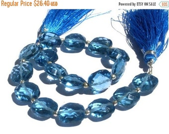 55% OFF SALE 1/2 Strand - Outrageous AAA London Blue Quartz Faceted Cushion Briolettes Size 10x10mm approx