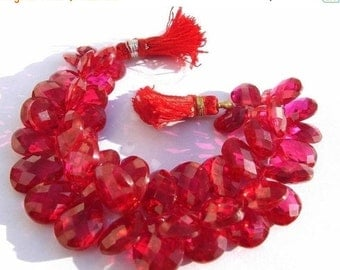55% OFF SALE Set of 25 Pcs AAA Raspberry Red Corundum Quartz Faceted Pear Shaped Briolettes 9x6 - 13x10mm