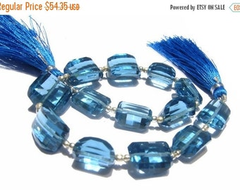 50% Off Valentine day 8 Inches -  AAA London Blue Quartz Step Cut Faceted Nuggets Size 14x9 - 16x12mm approx