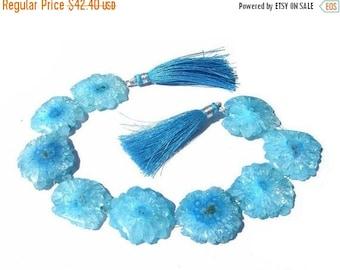 50% Off Valentine day 8 Inches - Apatite Blue Solar Quartz Stalactite Slice Briolettes Huge 22 - 24mm Approx