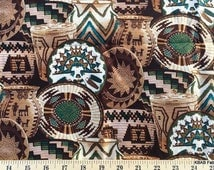 Southwestern Fabric with Baskets By Yard, Quarter Yard, Fat Quarter Brown & Turquoise Fabric Fabric Cotton Quilting Fabric t4/30